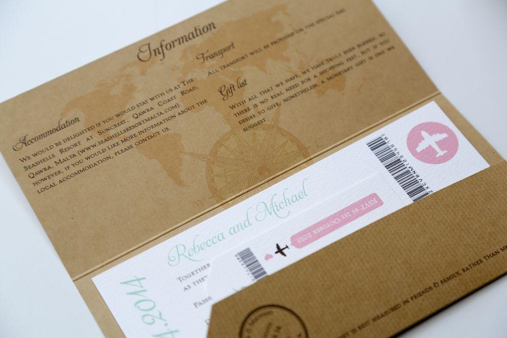 Kraft Vintage Style Airmail Travel Ticket Wedding Invitation Stationery Scotland Vows Award