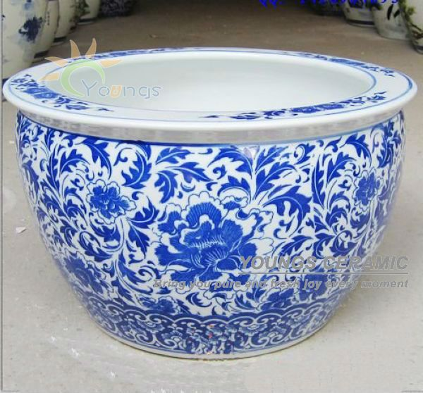 High Temperatue Fired Craft In Jingdezhen Small Moq Is Available Good Quality Fast Delivery Can Be Fish Bowl Also Cristales Unas Azules Porcelana