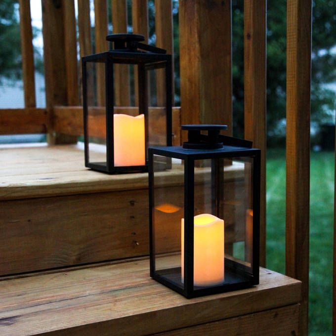Tall Glass Paneled 11 Black Metal Flameless Lantern With Timer Set Of 2 Glass Panels Garden Candle Lanterns Candle Lanterns