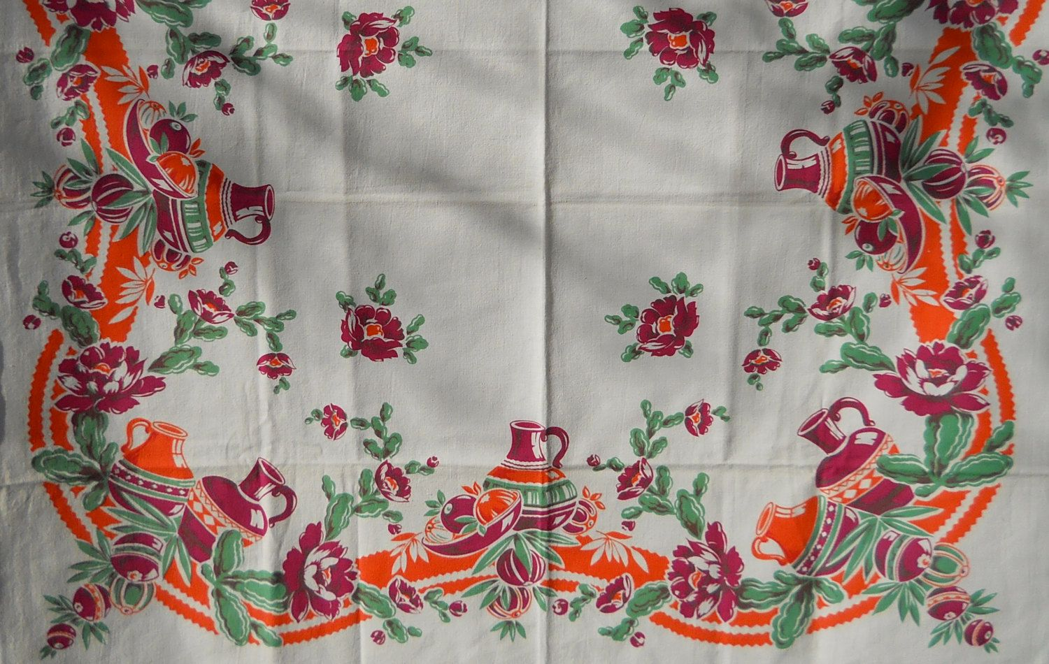 Vintage Tablecloth With Southwest Mexican Design By Cyndalees
