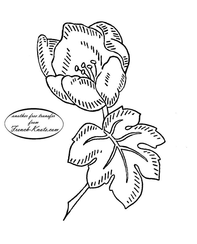 patrón de transferencia de bordado de la flor de la vendimia ...