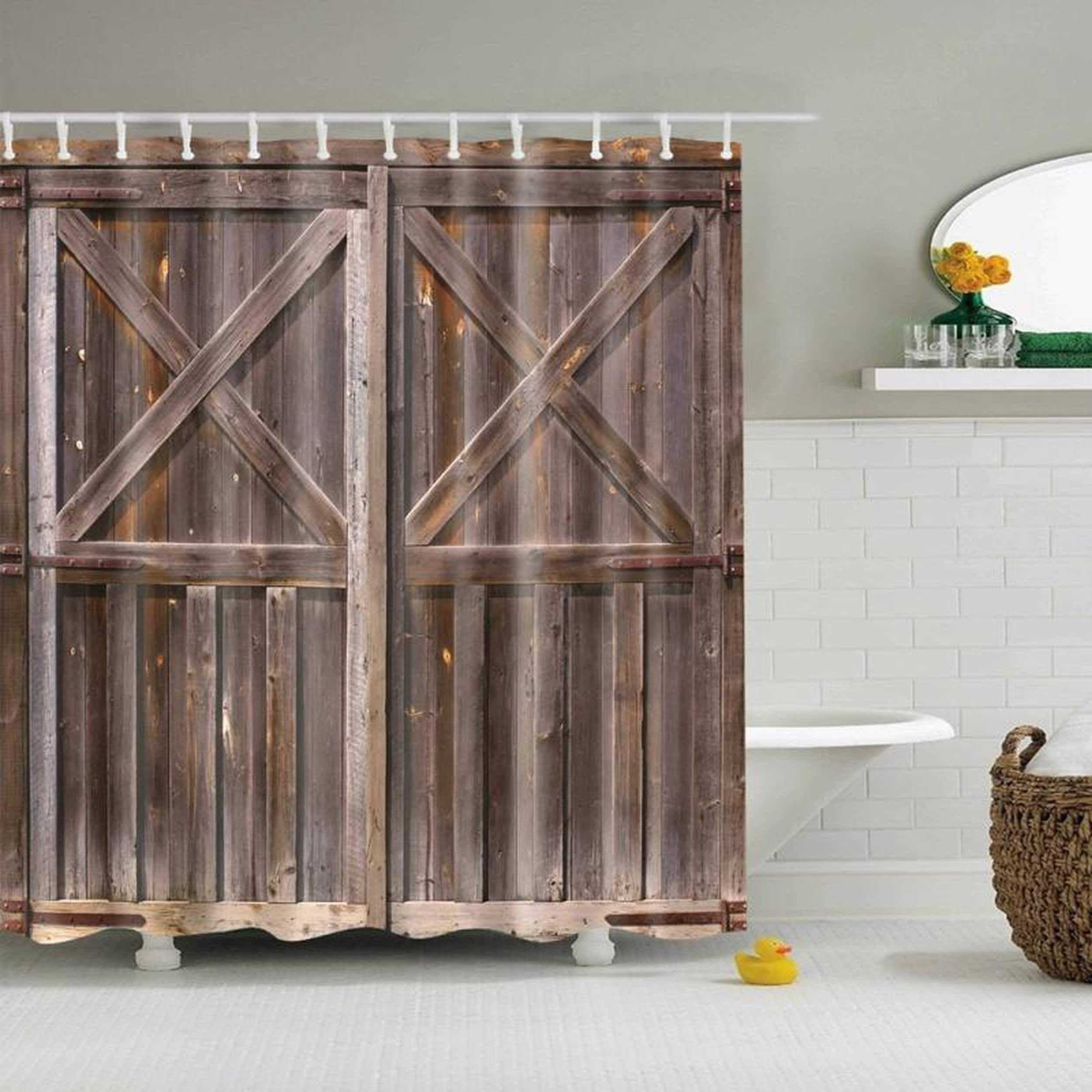 Rustic Wooden Barn Door Bathroom Waterproof Shower Curtain Set Fabric /& 12 Hooks