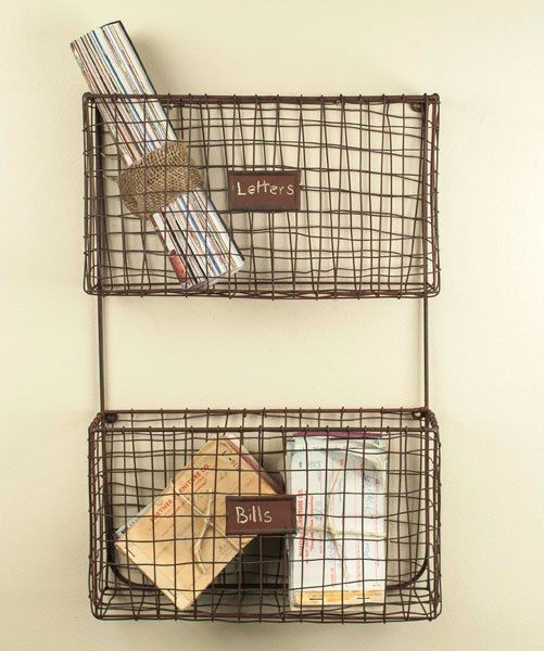 New Primitive Rusty Wire Wall Basket File Bin Cubby Letter Mail ...