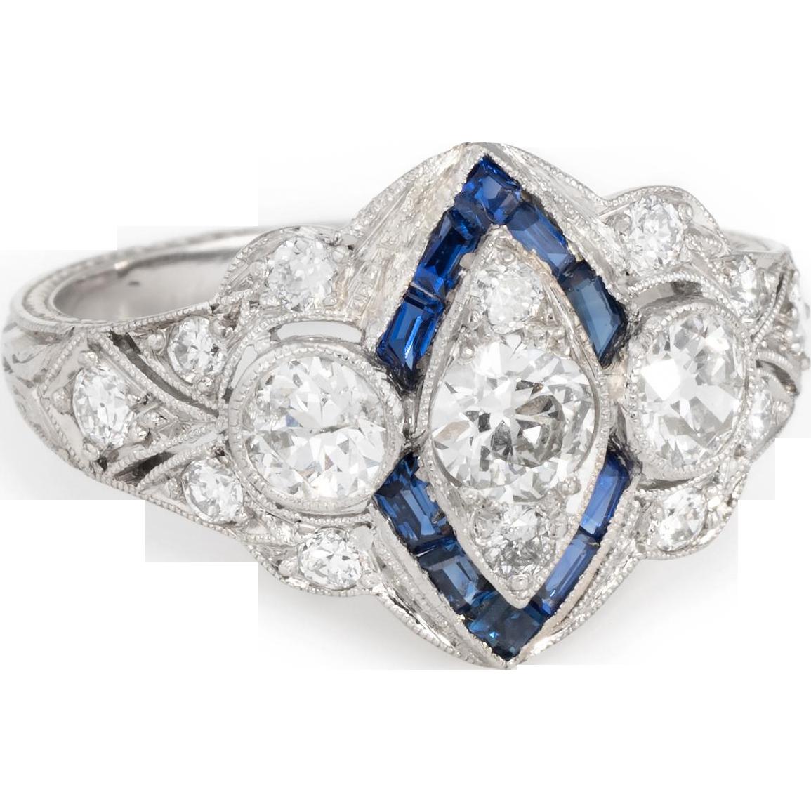 Vintage art deco diamond sapphire platinum embossed cocktail