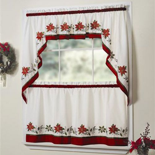 holly embroidered christmas kitchen curtains and valances - Christmas Kitchen Curtains