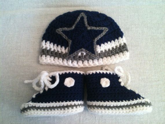 Dallas Cowboys-inspired Converse and Hat set - Preemie, Newborn- 3 mos.,  3-6 mos. - Crochet Baby Booties on Etsy,  28.00 d99cba01278
