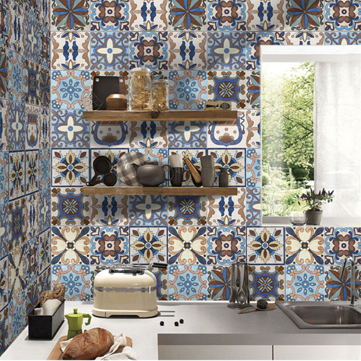 Bathroom Wall Stickers Pvc Mosaic Wallpaper Kitchen Waterproof Tile Stickers Plastic Vinyl Self Adhesive Wall Papers Home Decor In 2020 Bathroom Wall Stickers Kitchen Wallpaper Bathroom Wall Tile