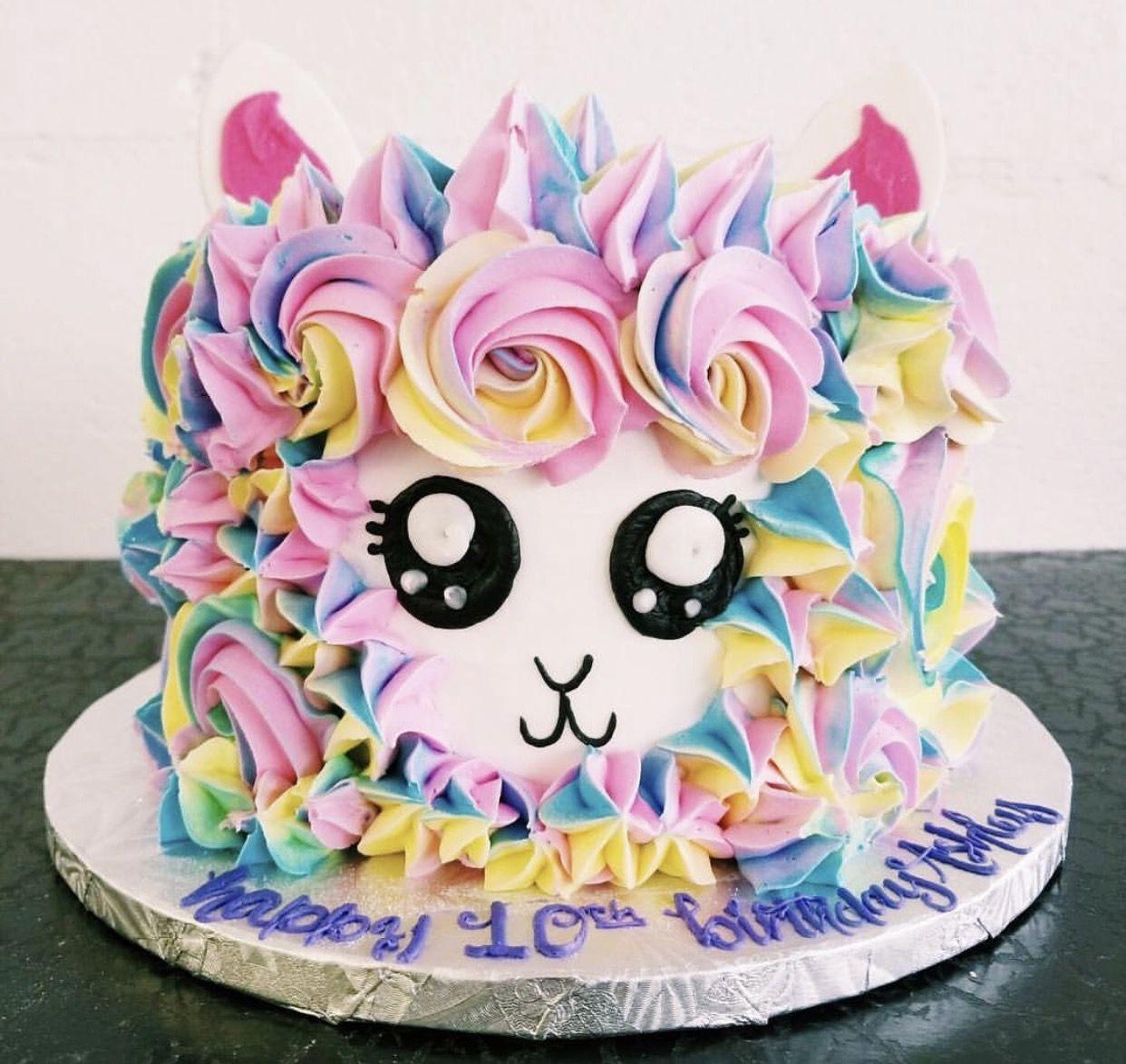 Llama Birthday Cake Girls 11th Baby Buttercream