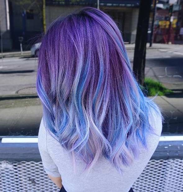 25 Amazing Blue And Purple Hair Looks Lila Haare Frisuren