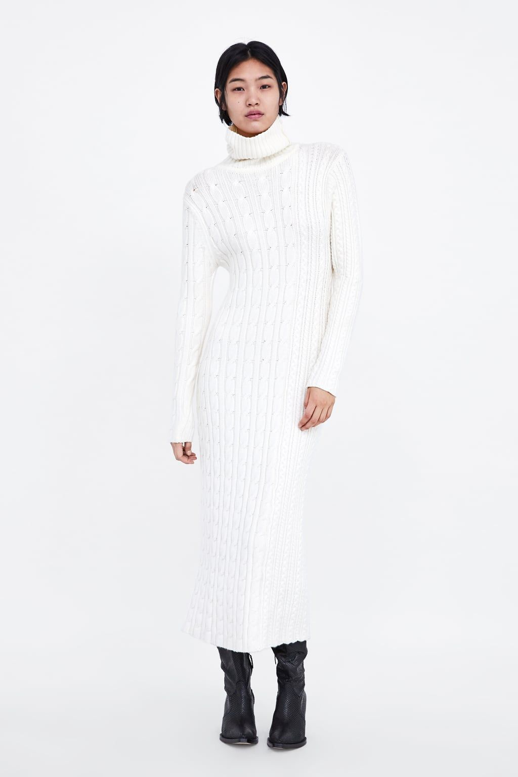 Details about  /Zara Women Knit Dress With Opening Sleeves Black