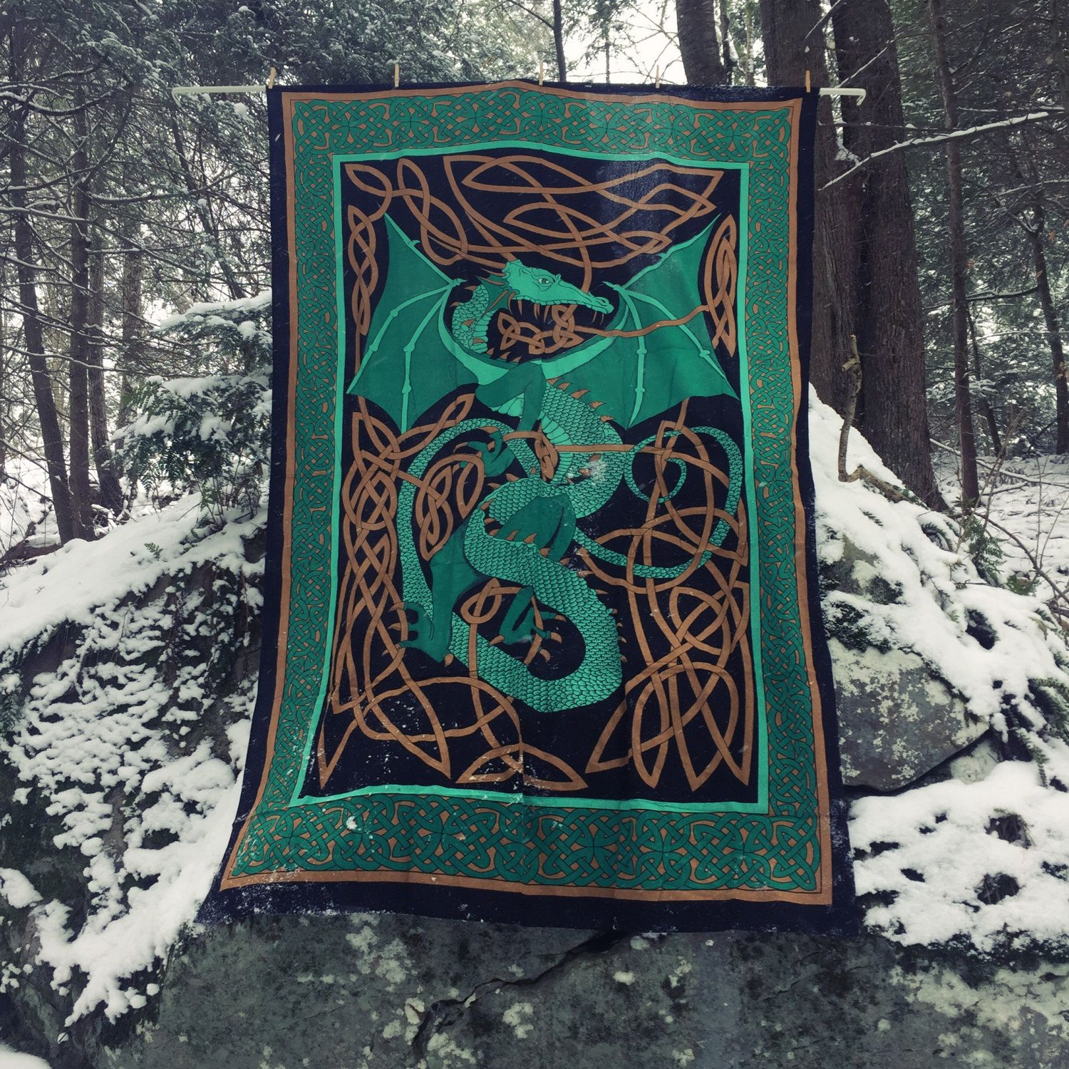 Green Dragon Tapestry - Dragon Banner - Green Dragon Flag