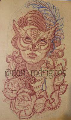 André Rodrigues Tattoo: Máscara de coruja, Mulher Vitoriana, Neotraditiona...