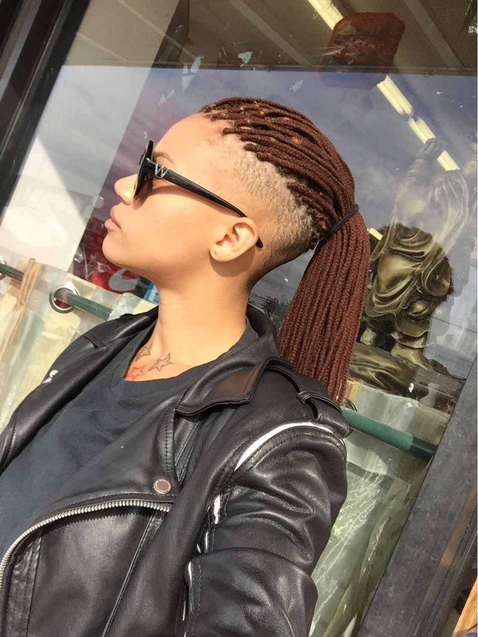 yarn braids - shaved sides undercut