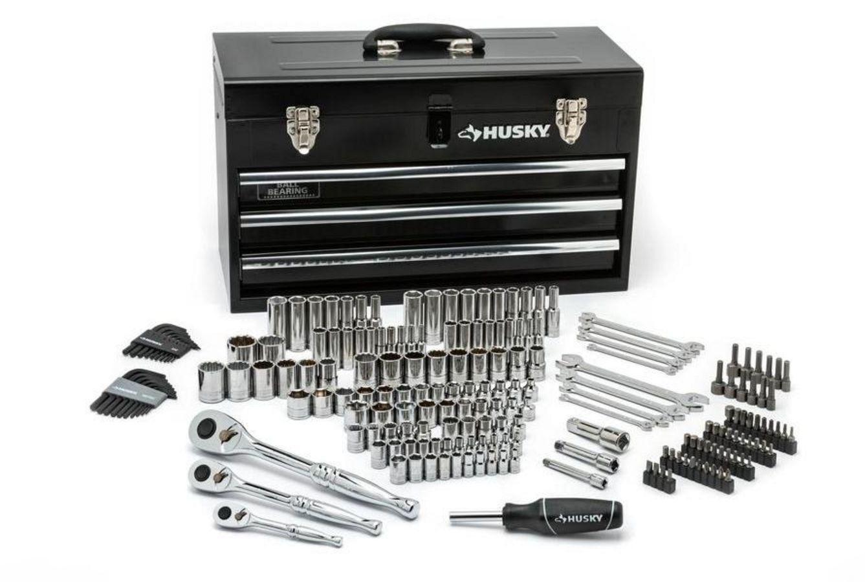 New Husky Mechanics Tool Set In Metal Box 200 Piece Lifetime