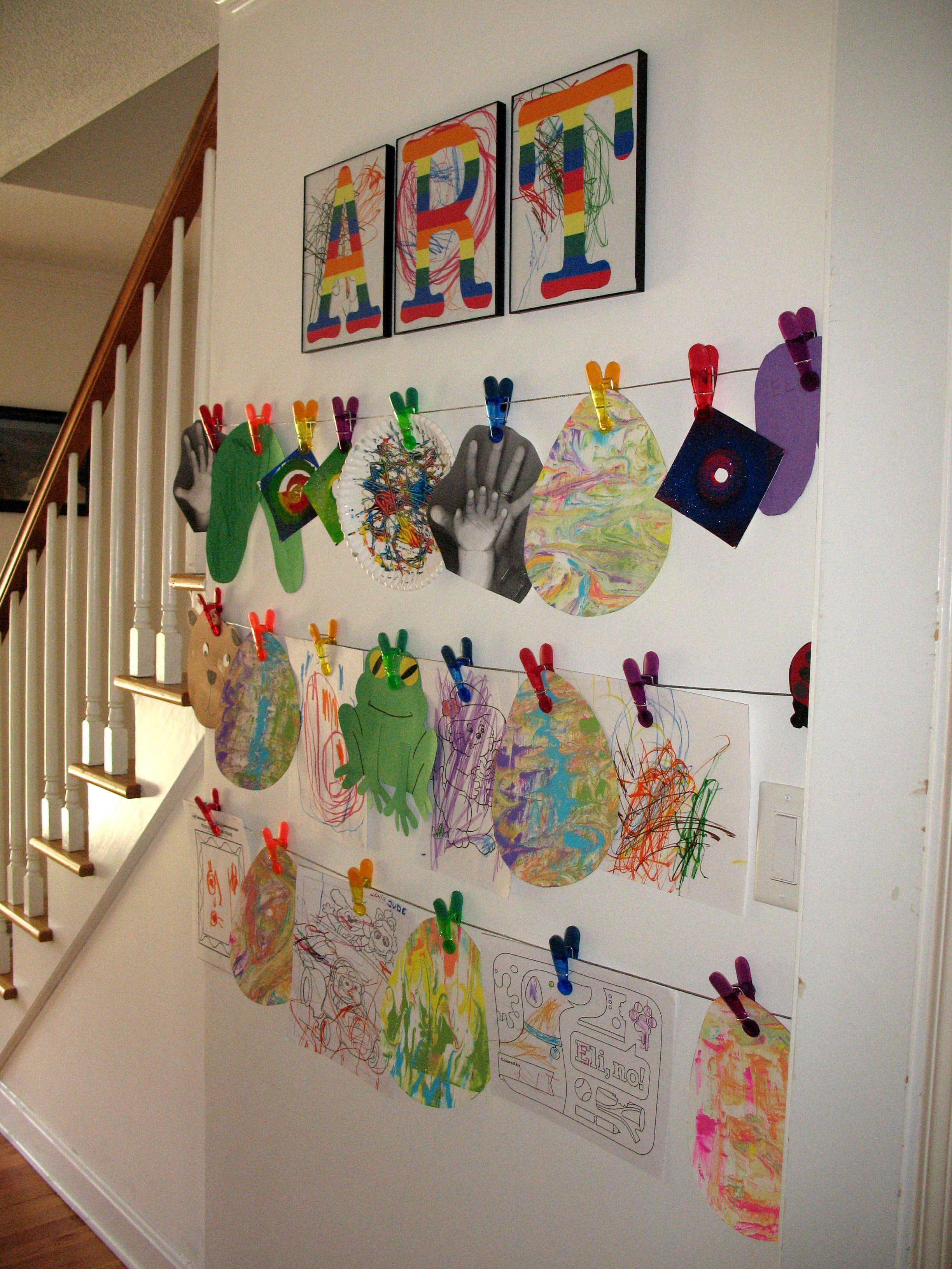 Hang Artwork From Wires In A Hallway Idea From