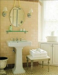 Glass Shelf Above A Pedestal Sink Black And White Tiles Bathroom Yellow Bathrooms Yellow Bathroom Tiles