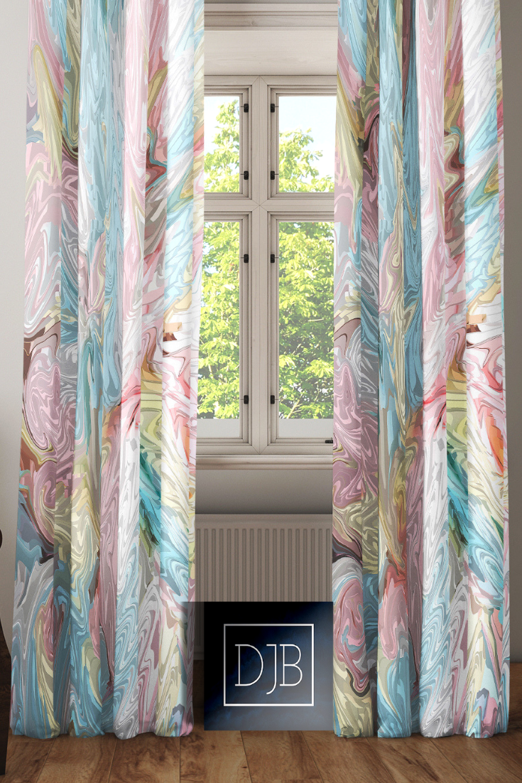 Pink Pastel Abstract Pattern Window Curtains Long Panel Sheer