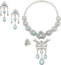 Diamond, Aquamarine, White Gold Jewelry Suite