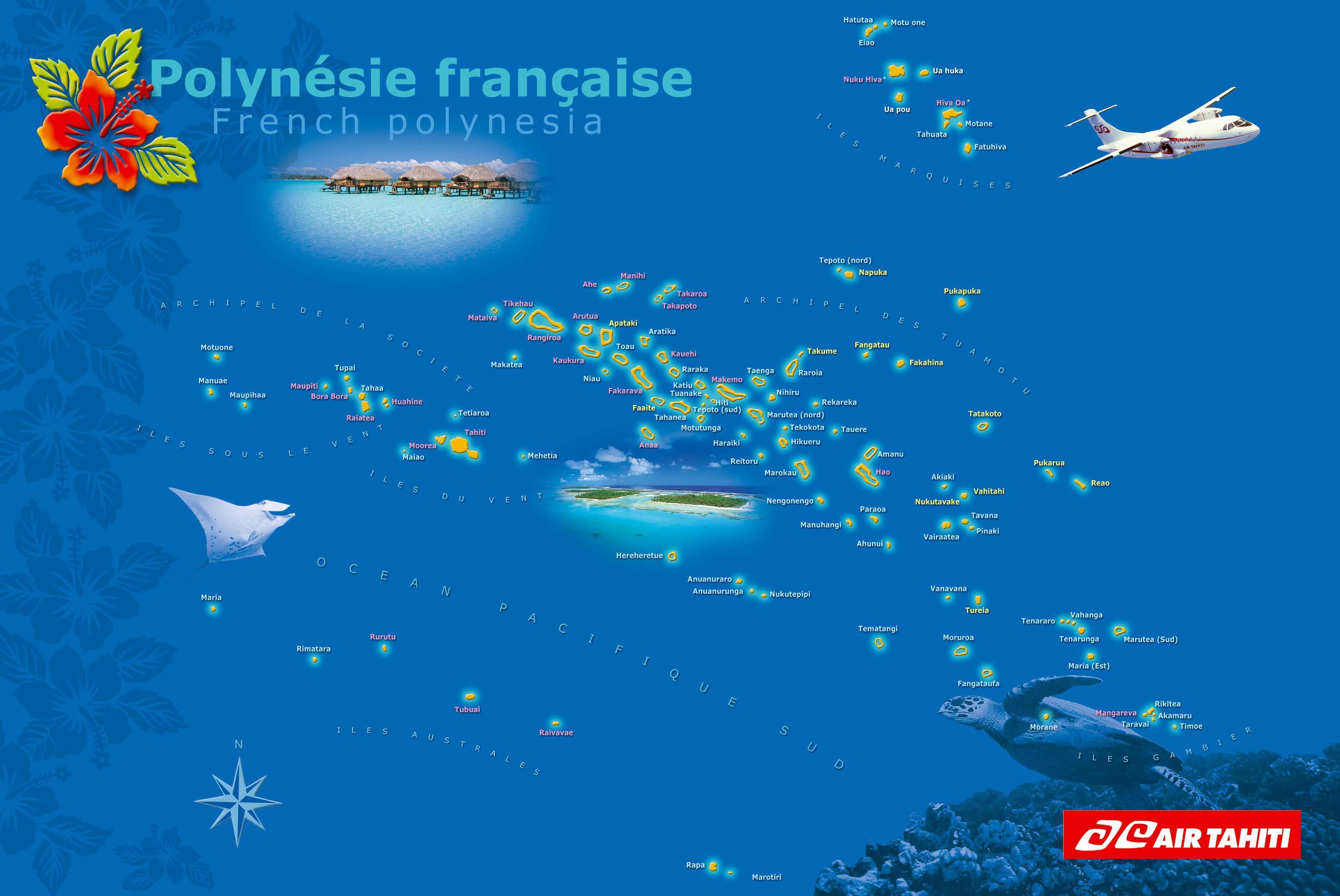 Air Tahiti Flight Map For French Polynesia South Pacific Travel - French polynesia map