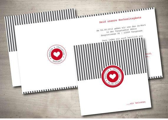 Hochzeitseinladung Streifenliese von MazetDesign auf Etsy, €2.95
