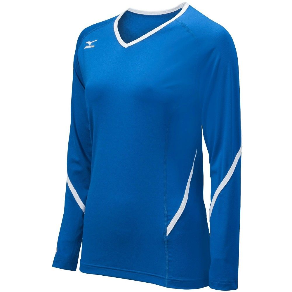 Mizuno Womens Volleyball Apparel Techno Generation Long Sleeve Jersey 440399 Size Lar White Long Sleeve Top Volleyball Jerseys Volleyball Outfits