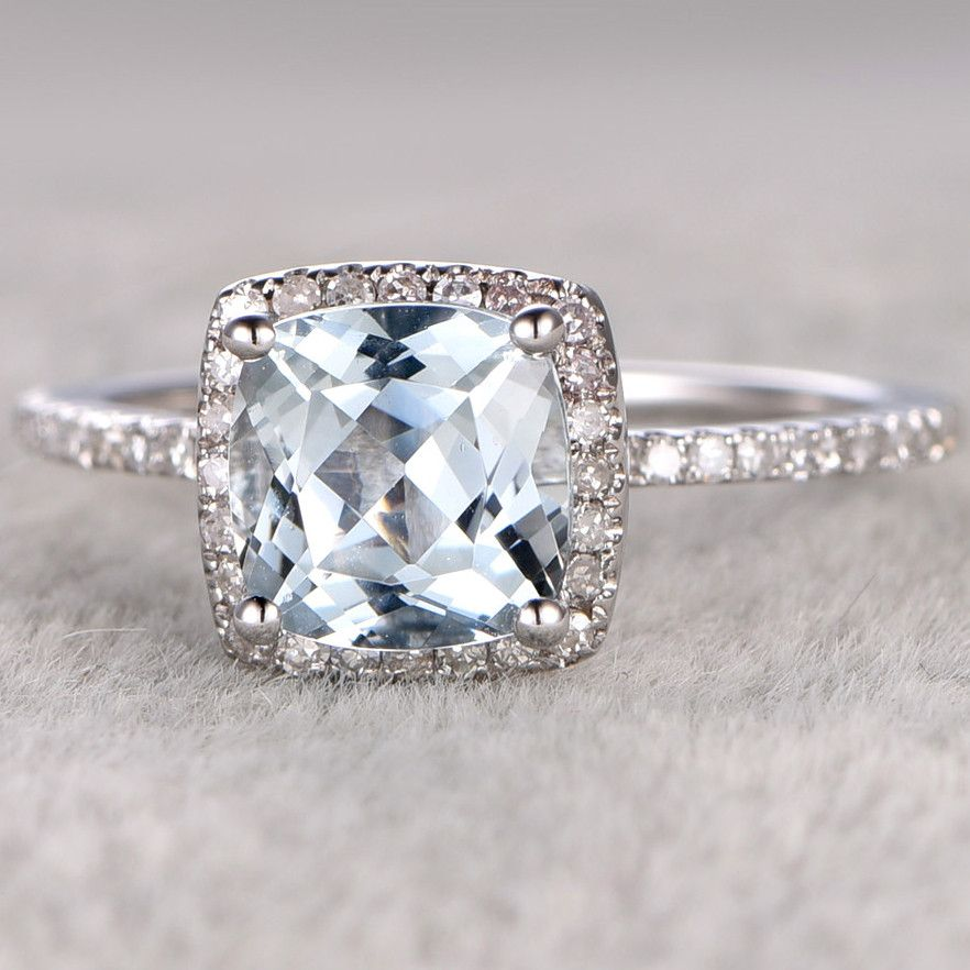 7mm Cushion Cut Aquamarine And Diamond Engagement Ring 14k White