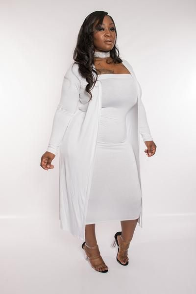Plus size white duster dress