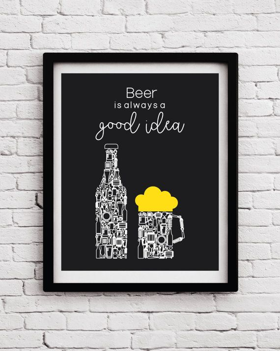 Black And White Kitchen Wall Decor Black White Yellow beer art decor, Kitchen wine print, Beer art, Beer  poster, Kitchen wall art, Beer