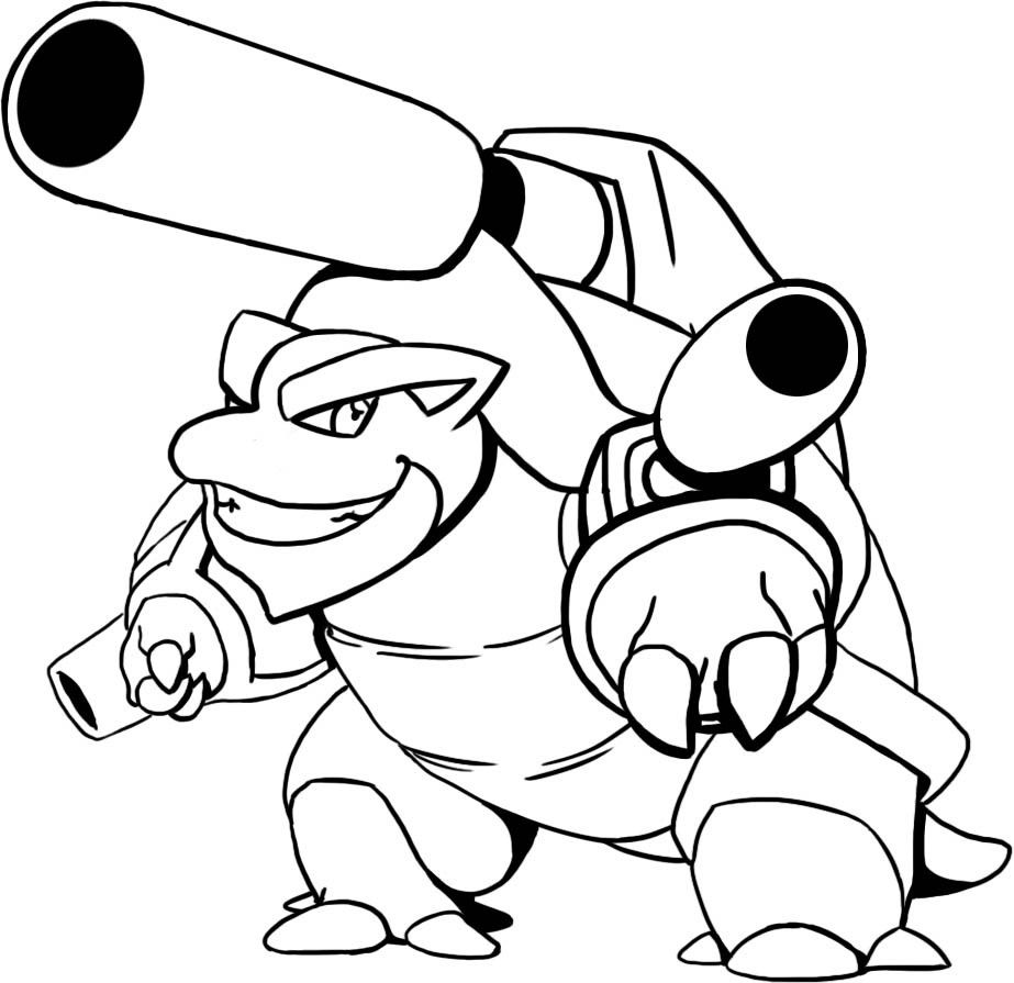 Pokemon Coloring Pages Mega Blastoise