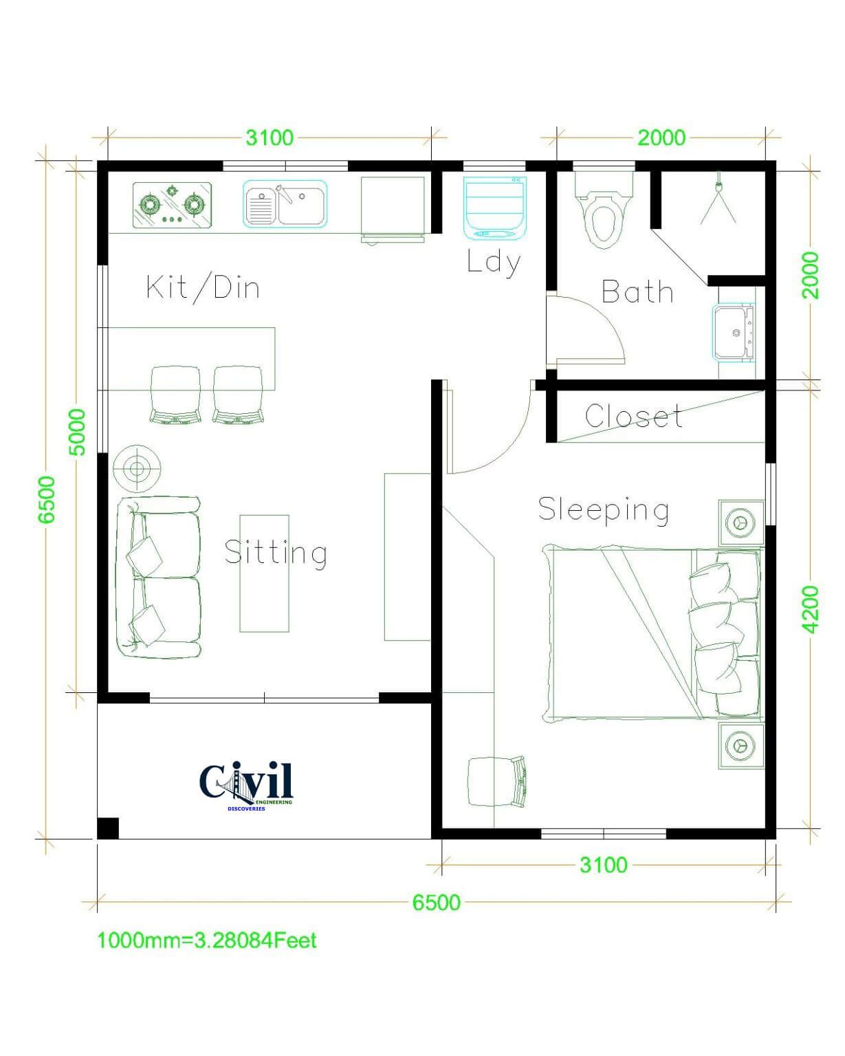 Beautiful Tiny House Plan Ideas For Your Inspiration Engineering Discoveries In 2021 One Bedroom House Small House Plans Small House Layout