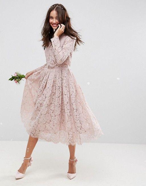 385e3ede0b16ed2 ASOS | Кружевное платье миди для выпускного с длинными рукавами ASOS DESIGN