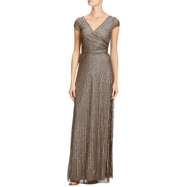 Adrianna Papell Petite Wrap Beaded Gown featuring polyvore, women\'s ...