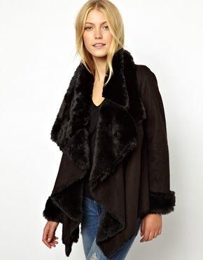 Manteau femme fausse peau lainee