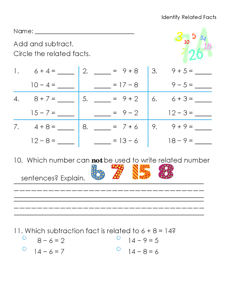 Identify Related Facts Worksheet Docx Facts First Grade Lessons Math [ 1035 x 800 Pixel ]