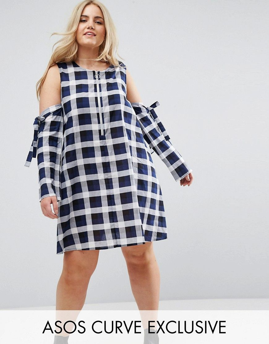 ASOS CURVE Check Shift Dress with Zip Through - Multi. Plus-size dress by  ASOS CURVE, Woven cotton, Check design, Round neck, Ring-pull zip front, ...
