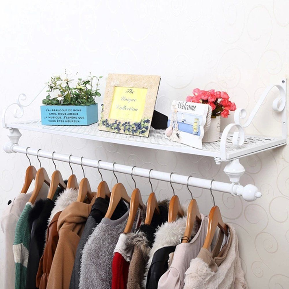 Vintage style metal coat rack garment clothes hanging rail with