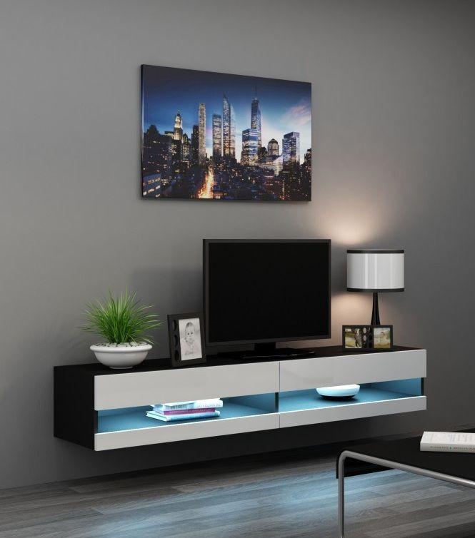 Modern Tv Meubel Zwart.Hoogglans Zwart Wit Zwevend Tv Meubel Met Blauwe Verlichting