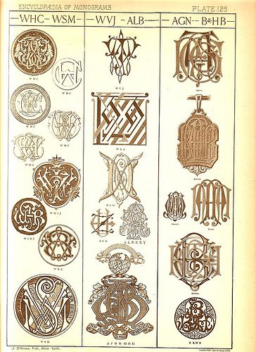 Antique Page Of Monograms 125 Embroidery Monogram Monogram Design Monogram Fonts