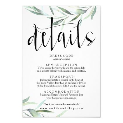 Eucalyptus Wedding Details Card Rustic Invitations Cards Custom Invitation Design Marriage Party