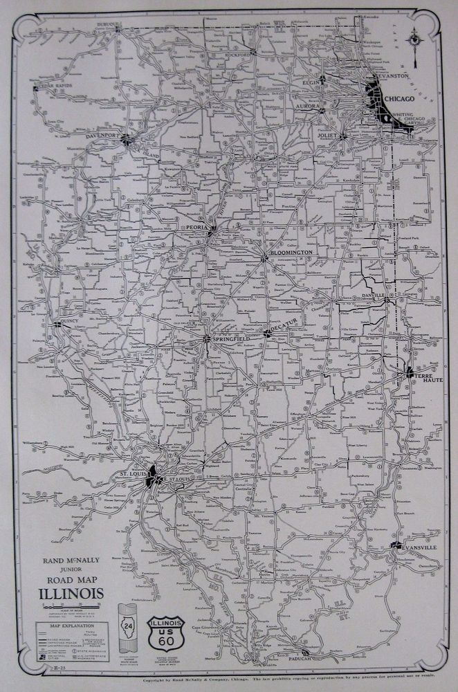Details About RARE Antique ILLINOIS Map Illinois Road Map - Us road map poster