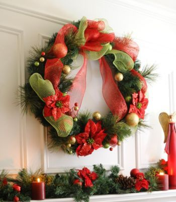 Poinsettia Ribbon Wreath, 36 in Poinsettia, Wreaths and Christmas