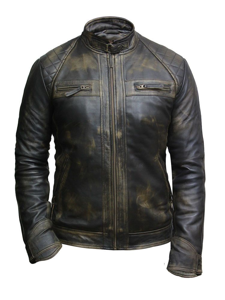 Brandslock Mens Leather Biker Jacket Genuine Lamb Skin Vintage