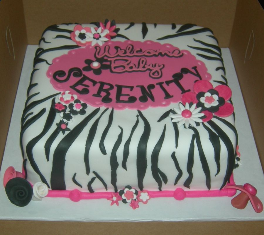 Nail Cake Blue Black Splodges Cow Print: Zebra Print Baby Shower Cakes
