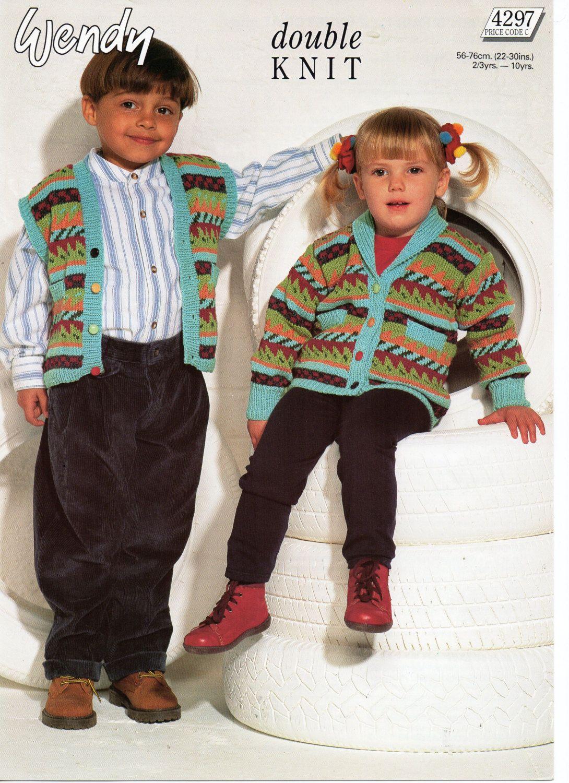 childrens fair isle cardigan with shawl collar fair isle waistcoat ...