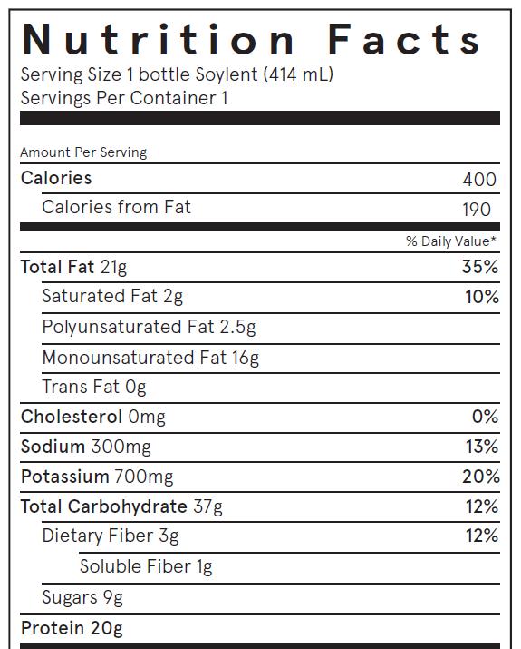 Soylent Bottle Nutrition Facts Label