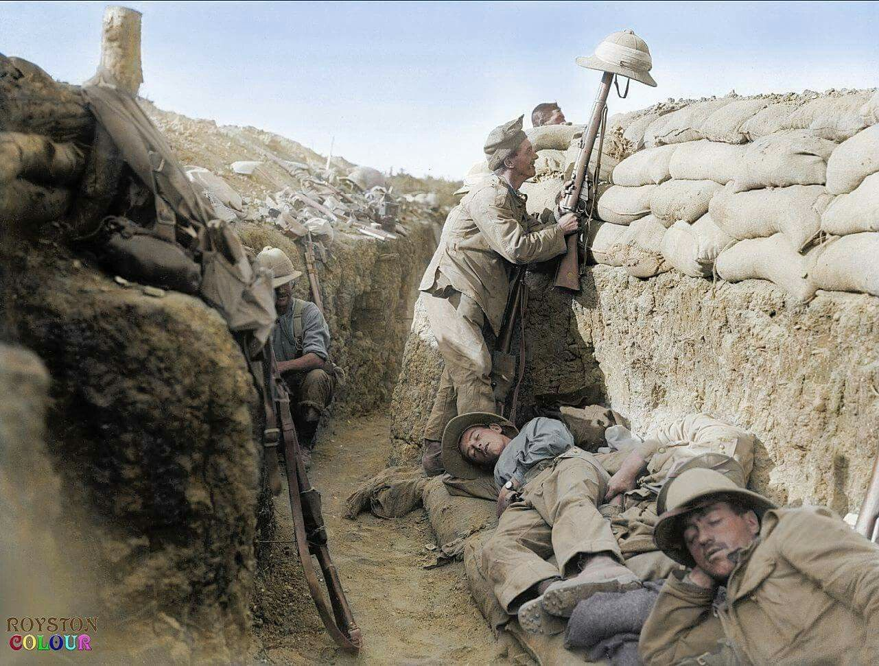 A Royal Irish Fusilier attempts to draw the fire of a Turkish sniper to reveal the enemy position, Gallipoli, 1915. The 1st Battalion The Royal Inniskilling Fusiliers was involved in the initial landings at Gallipoli on 25 April 1915 and throughout the hard-fought nine-month campaign, as part of 29th Division.