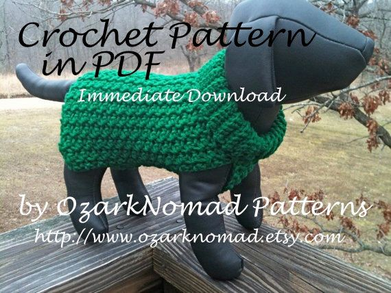 Immediate Download PDF Crochet Pattern For The Green St Paddy's Delectable Crochet Dog Sweater Pattern Easy
