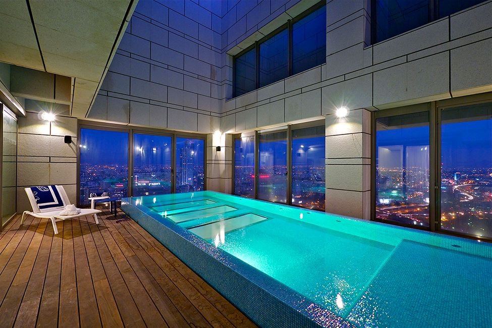 Stunning sky penthouse in israel stretching over the top three floors of the w tower in park tzameret this state of the art penthouse boasts incredible