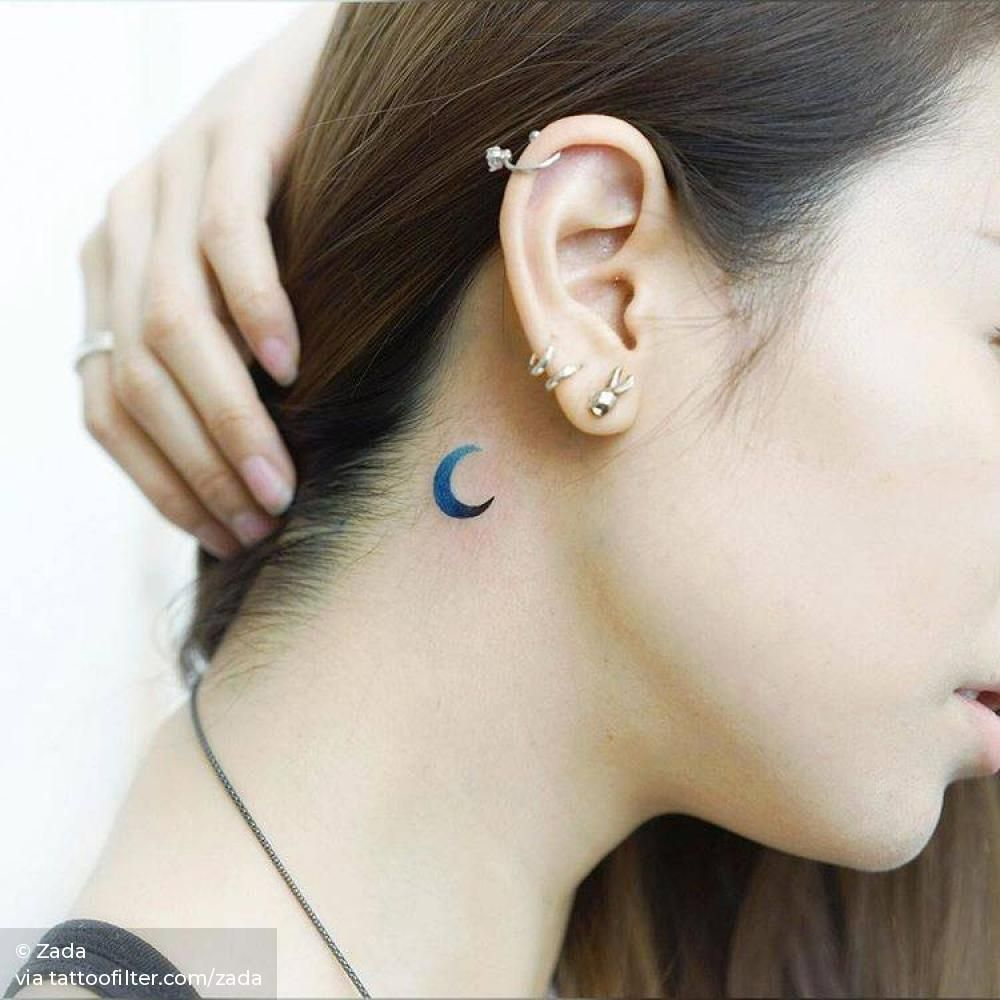 Blue Crescent Moon Tattoo Behind The Right Ear In 2020 Moon Tattoo Crescent Moon Tattoo Tattoos