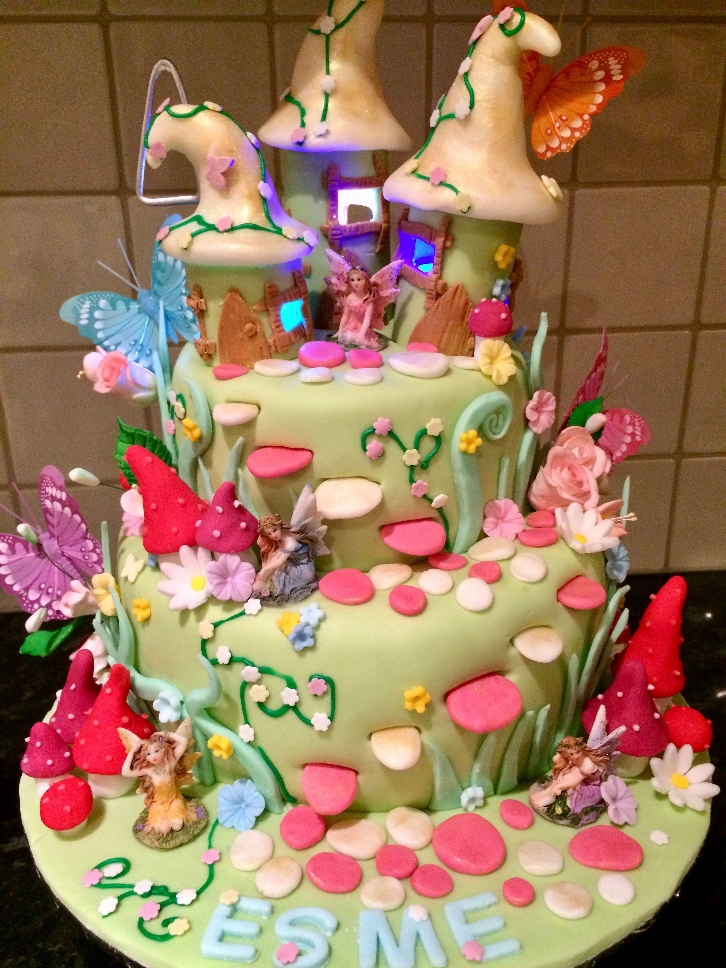 Enchanted Fairy Garden Birthday Cake With Light Up Fairy Houses